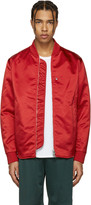 Acne Studios Red Mylon Bomber Jacket