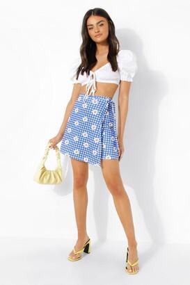 boohoo Floral Gingham Wrap Mini Skirt