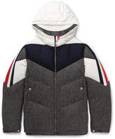 Moncler Gamme Bleu Panelled Wool And Shell Hooded Down Jacket - Gray