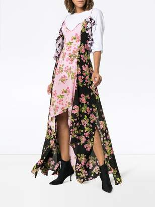 Natasha Zinko rose print silk maxi dress multicolor