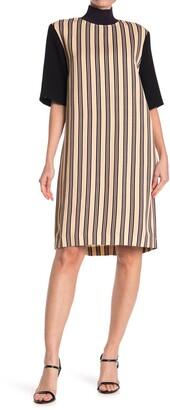 Dries Van Noten Stripe Ribbed Trim Sheath Dress