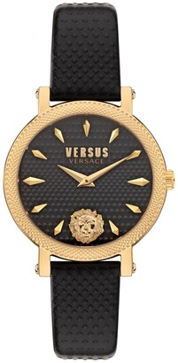 Versus By Versace Women's Weho Black Leather Strap Watch 38mm
