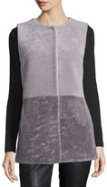 Pologeorgis Colorblock Shearling Vest, Gray