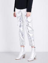 Proenza Schouler Crinkled metallic straight leather trousers