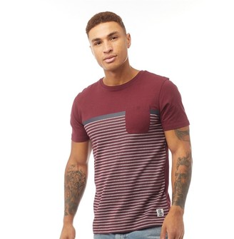 Fluid Mens Striped T-Shirt Cabernet