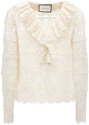 Gucci Ruffled Sheer Floral Lace Shirt