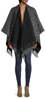 Saks Fifth Avenue Leopard-Print Merino Wool Cape