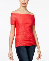 Amy Byer Juniors' Off-The-Shoulder Lace Top