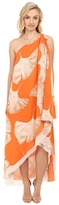 Halston One Shoulder Printed Drape Gown