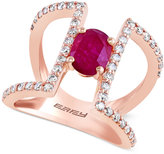 Effy Ruby (7/8 ct. t.w.) and Diamond (5/8 ct. t.w.) Ring in 14k Rose Gold