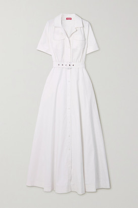 STAUD Millie Belted Linen-blend Maxi Shirt Dress - White