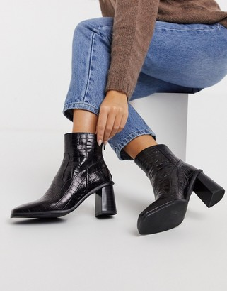 Schuh Bobby heeled ankle boots in black croc leather