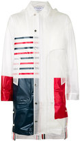 Thom Browne striped translucent raincoat - men - Polyurethane - 0