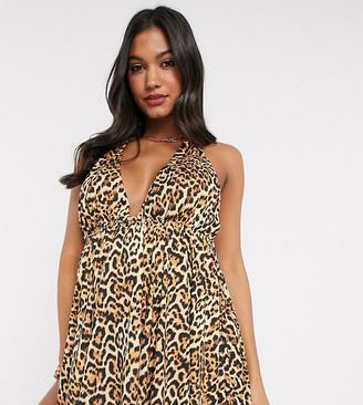 Asos DESIGN recycled maternity halter neck floaty tankini top in animal leopard print