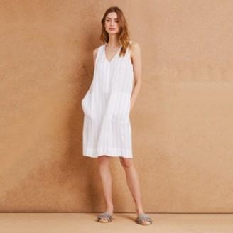 The White Company Linen Stripe Shift Dress, Ivory, 16
