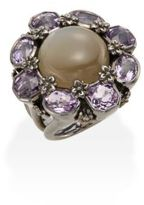Stephen Dweck Toledo Grey Moonstone, Amethyst & Sterling Silver Flower Ring