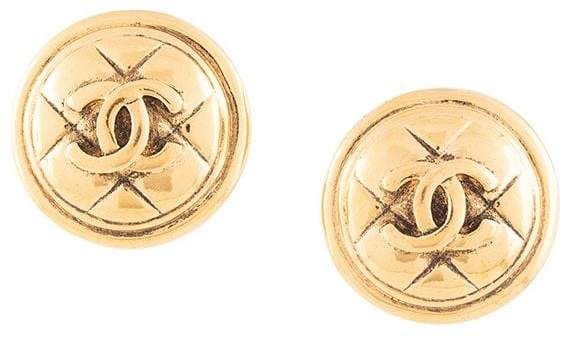 Chanel Pre-Owned Round CC Matelasse Stitch Earrings