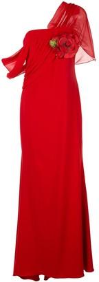 Badgley Mischka asymmetric draped gown