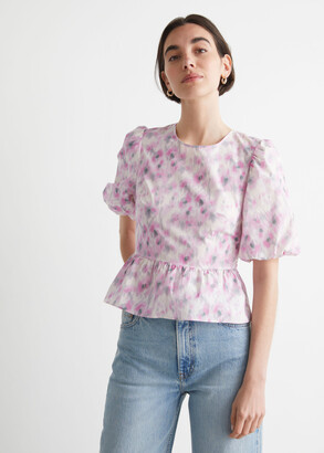 And other stories Puff Sleeve Peplum Top