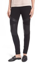 Petite Women's Two By Vince Camuto Lacquer Inset Moto Leggings