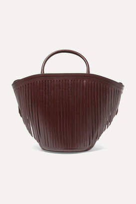 Trademark - Fringed Leather Tote - Burgundy