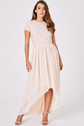 Little Mistress Luxury Elise Nude Hand-Embellished Sequin Hi-Low Prom Dress