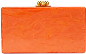 Edie Parker Marbled-Effect Box Clutch Bag