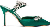Manolo Blahnik Satin Lurum 90 Heels in Emerald Green Satin | FWRD