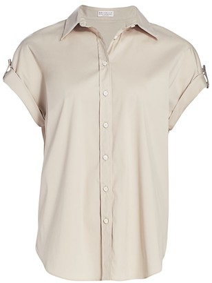 Brunello Cucinelli Monili Tab Short-Sleeve Button-Down Shirt
