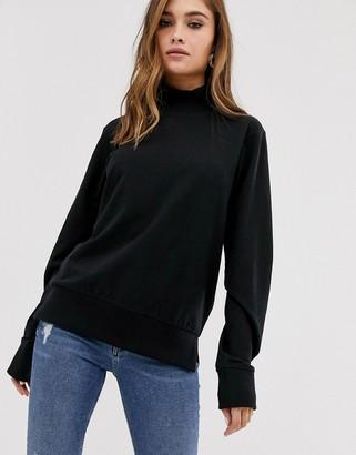 Asos DESIGN high neck lightweight sweatshirt in black