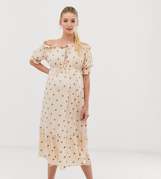 ASOS DESIGN Maternity off shoulder tiered maxi beach dress in metallic spot print