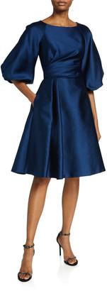 Theia Balloon-Sleeve Pebble Mikado Jacquard Party Dress