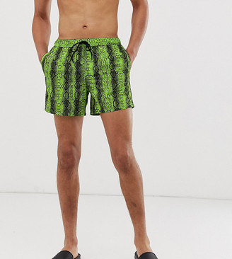 Asos Design DESIGN Tall swim short with neon green snake print print in short length