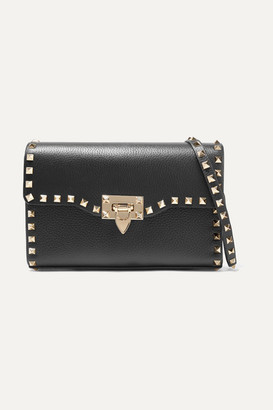 Valentino Garavani The Rockstud Small Textured-leather Shoulder Bag - Black