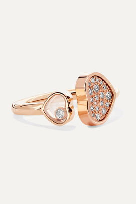 Chopard Happy Hearts 18-karat Rose Gold Diamond Ring - 50
