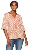 Margaritaville Women's Minature Floral Peasant Blouse