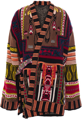 Etro Belted Wool-blend Jacquard Coat