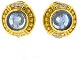 Judith Ripka 18k Yellow Gold Intaglio Blue Topaz Diamonds Earrings