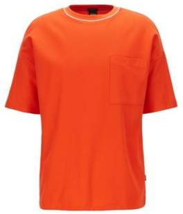 BOSS Relaxed-fit T-shirt in waffle cotton with drawstring hem