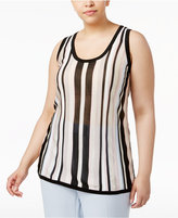 Anne Klein Plus Size Striped Knit Shell