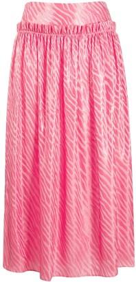 By Malene Birger Zebra Print Pleated Skirt