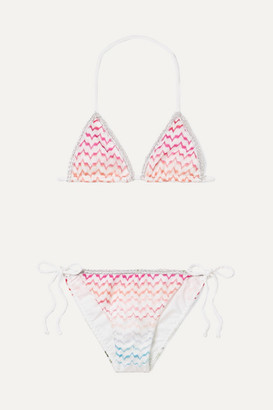 Missoni Kids - Metallic Picot-trimmed Crochet-knit Bikini - Pink