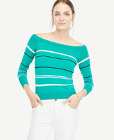 Ann Taylor Stripe Off The Shoulder Sweater