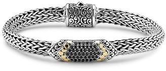 Samuel B. 18K & Sterling Silver 0.98 Ct. Tw. Black Spinel Chain Bar Bracelet
