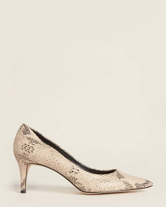 Enzo Angiolini Natural Ranci Snakeskin-Effect Leather Pumps