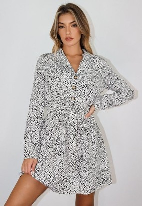 Missguided White Dalmatian Tie Waist Shirt Dress