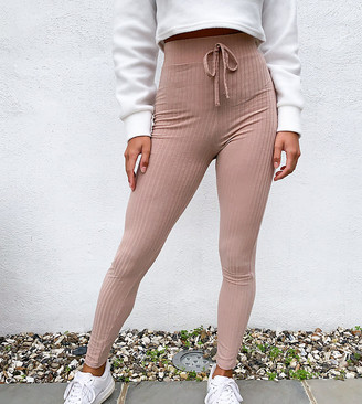 Miss Selfridge Petite ribbed legging in camel