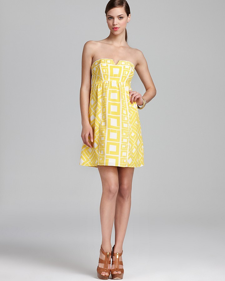 Alice & Trixie Strapless Printed Dress - Fontaine