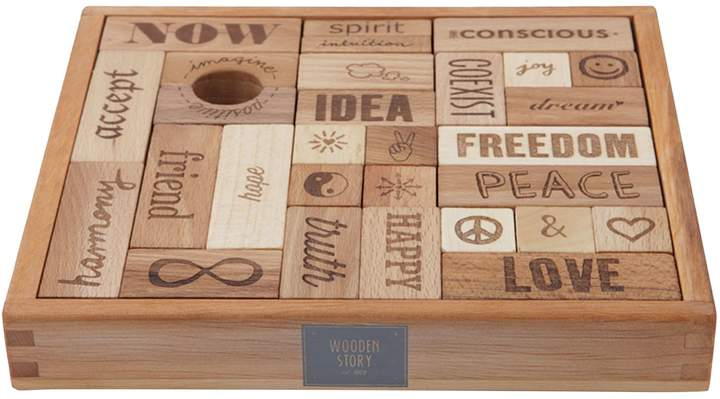 story. Wooden Peace & Love Wooden Blocks, 29 Pieces