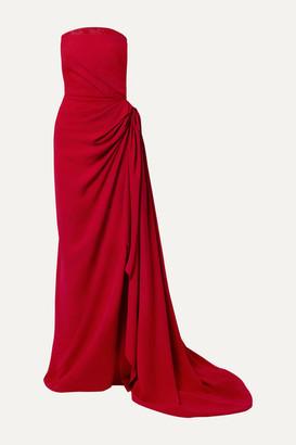 Oscar de la Renta Strapless Draped Embellished Tulle-trimmed Cady Gown - Crimson